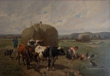 Louis Robbe bull at farm Oil Paintings