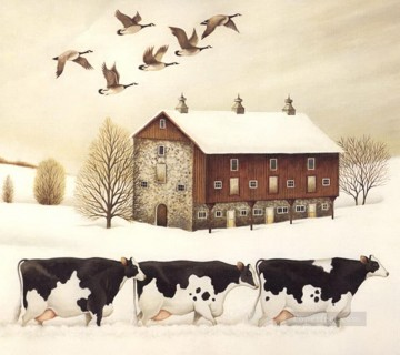 cows and mallards in winter Oil Paintings