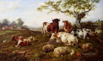 cattle bull cow Painting - resting cattle sheep and deer a farm beyond