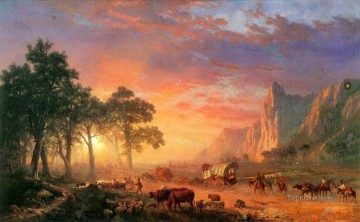 bulls Canvas - Albert Bierstadt the oregon trail bulls