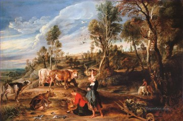 cattle bull cow Painting - Sir Peter Paul Rubens Milkmaids with Cattle in a Landscape The Farm at Laken