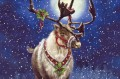 Christmas deer under moon
