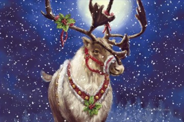 Christmas Art - Christmas deer under moon