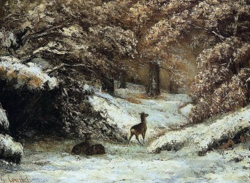 Deer Taking Shelter in Winter Oil Paintings