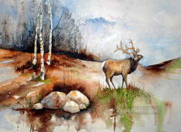Elk watercolor Oil Paintings