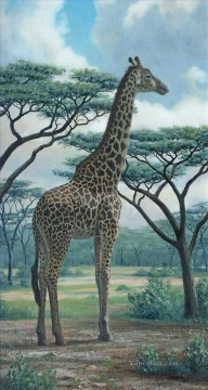Animal Painting - Giraffe green