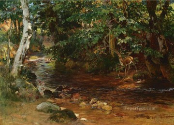 stream Painting - THE STREAM AT DIVONNE Frederick Arthur Bridgman deer
