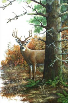Animal Painting - deer behind the tree