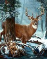 deer in blue forest