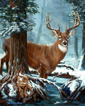 Animal Painting - deer in blue forest