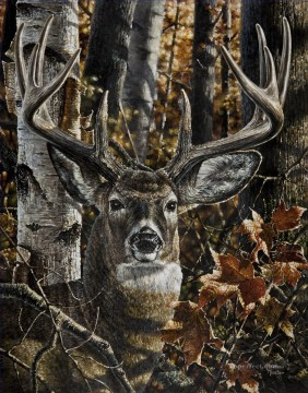 Animal Painting - deer in branches