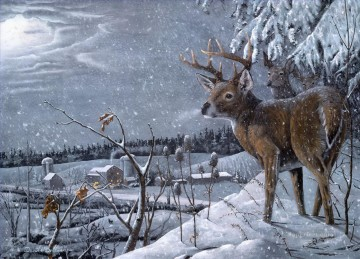 deer watching village Oil Paintings