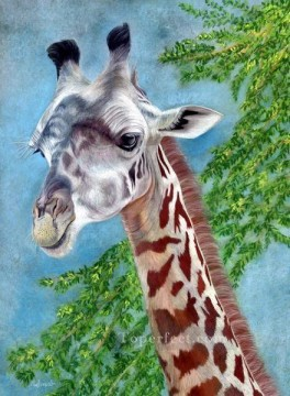 Animal Painting - giraffe and leaves