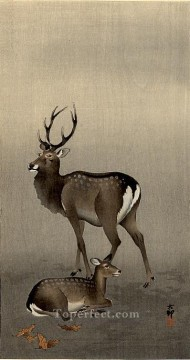 Animal Painting - stag and recumbent doe Ohara Koson deer