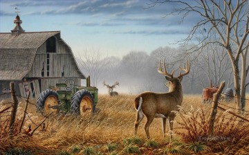 Barn tractor whitetail Oil Paintings