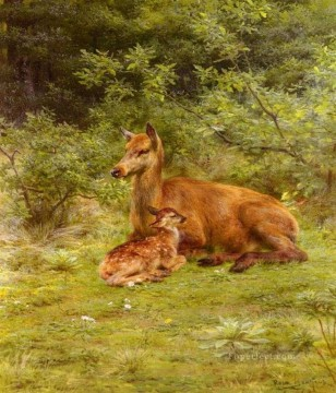 Animal Painting - Cervus nippon mother and baby