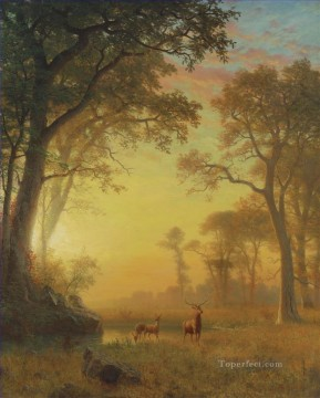 Artworks in 150 Subjects Painting - LIGHT IN THE FOREST American Albert Bierstadt deer animal