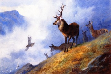 Animal Painting - birds and deer