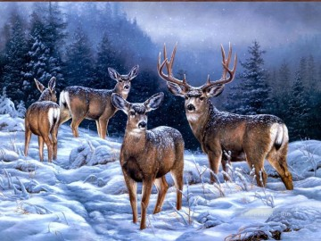 broken silence mule deer Oil Paintings