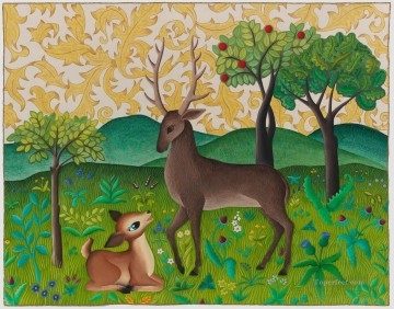 Animal Painting - cartoon deer on hill