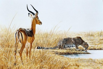 Animal Painting - cheetah and impala ram