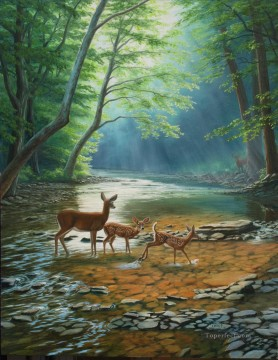 Animal Painting - deer Maiden Crossing