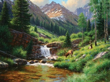 Animal Painting - deer in summer mountain