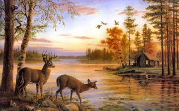 deer nature river birch Oil Paintings