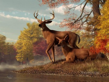 Animal Painting - deer on an autumn lakeshore