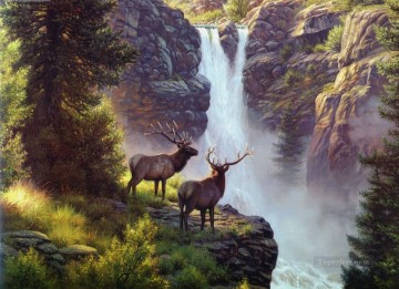 Animal Painting - elk at waterfall