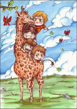 kids Art - kids giraffe riding