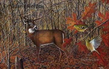 Animal Painting - whitetail buck birds