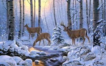 whitetail drinking Oil Paintings
