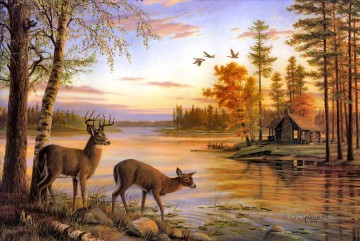 Animal Painting - whitetail near river