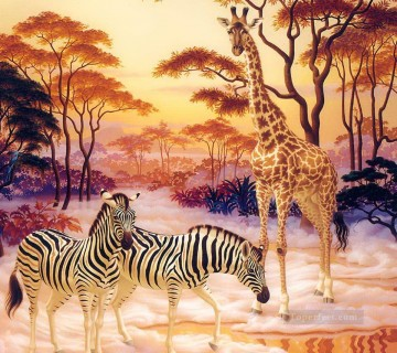 Animal Painting - zebra and elk under red trees