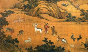 Asian Hundred deer of prosperity Oil Paintings