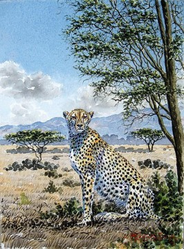 Thiongo Cheetah on the Savannah panther Oil Paintings