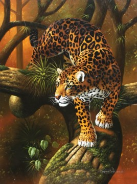 cheetah down the tree panther Oil Paintings