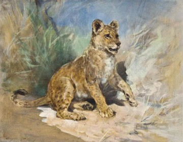 A Lion Cub Heywood Hardy Oil Paintings