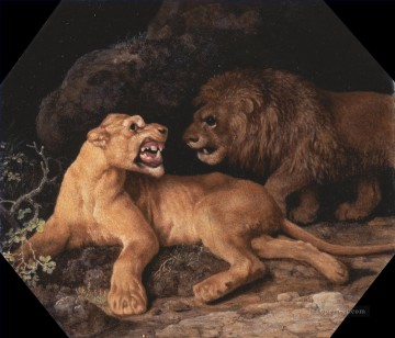 lion art - George Stubbs Lion and Lioness