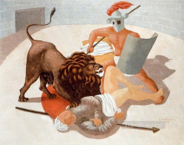 gladiators and lion 1927 Giorgio de Chirico Oil Paintings