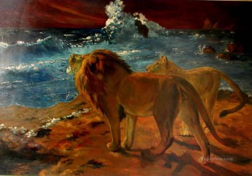 lion art - lions at seaside