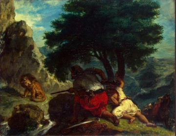 Delacroix Eugene Lion Hunt in Morocco Oil Paintings