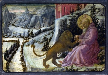 Della Painting - LIPPI Fra Filippo Saint Jerome and the Lion Predella Panel