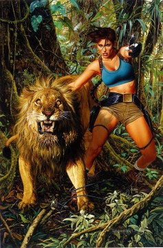 Lara and the Lion Oil Paintings