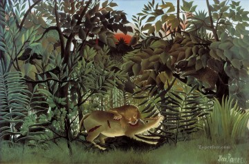Animal Painting - The Hungry Lion Attacking an Antelope Le lion ayant faim se jette sur antilope Henri Rousseau