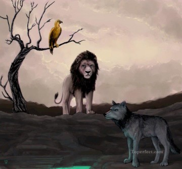 Animal Painting - Wolf Lion Eagle
