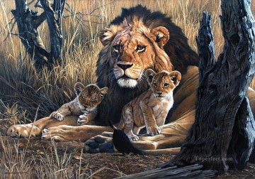 lion and cubs Oil Paintings