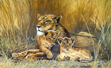 lioness and cubs 2 Oil Paintings