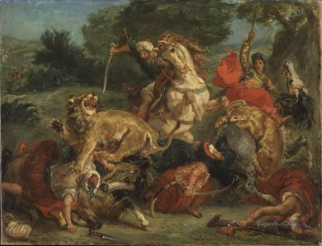 1855 Oil Painting - Delacroix lion hunt 1855
